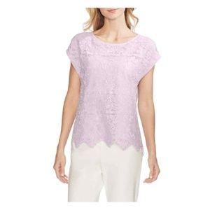 Vince Camuto Womens Border Lace Top Purple Shirt
